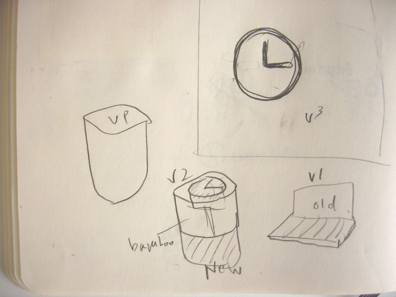 Initial sketch of the analog clock stamp idea