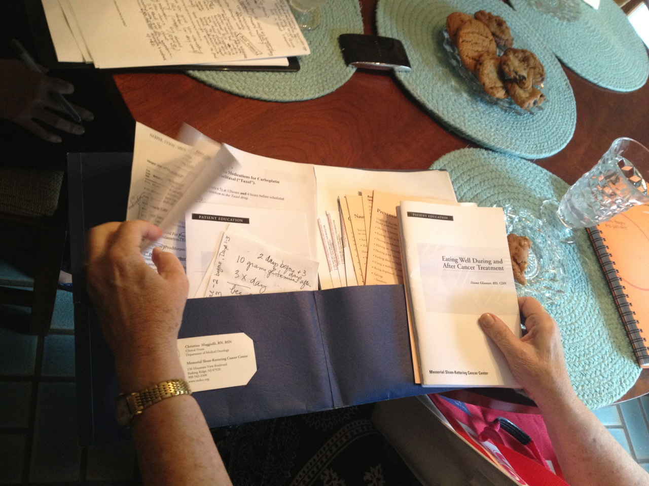 HOME INTERVIEW Patient shows us all the pamphlets she receives from her visits
